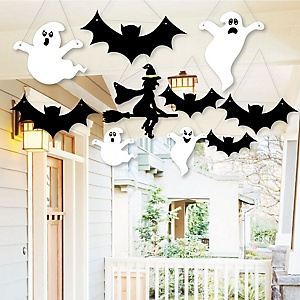 Hanging Scary Squad - Witch, Bats & Ghosts Outdoor Halloween Hanging Porch & Tree Yard Decorations - 10 Pieces