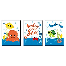 Under The Sea Critters - Nursery Wall Art and Kids Room Decor - 7.5 x 10 inches - Set of 3 Prints