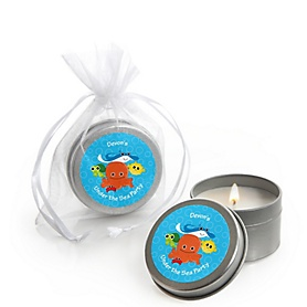 Under The Sea Critters - Personalized Baby Shower Candle Tin Favors - Set of 12