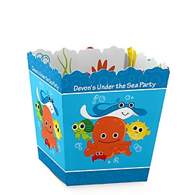 Under The Sea Critters - Party Mini Favor Boxes - Personalized Baby Shower Treat Candy Boxes - Set of 12