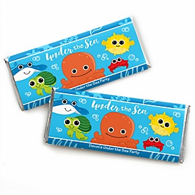 Under The Sea Critters - Personalized Candy Bar Wrappers Baby Shower Favors - Set of 24