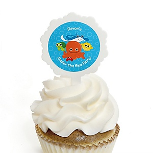Under The Sea Critters - 12 Cupcake Picks & 24 Personalized Stickers - Baby Shower Cupcake Toppers