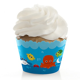 Under The Sea Critters - Baby Shower Decorations - Party Cupcake Wrappers - Set of 12