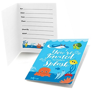 Under The Sea Critters - Baby Shower Fill In Invitations - 8 ct