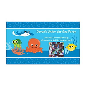 Under The Sea Critters - Personalized Baby Shower Game Scratch Off Cards - 22 ct
