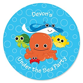 Under The Sea Critters - Personalized Baby Shower Sticker Labels - 24 ct