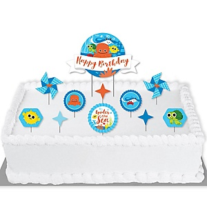 Under The Sea Critters - Birthday Party Cake Decorating Kit - Happy Birthday Cake Topper Set - 11 Pieces