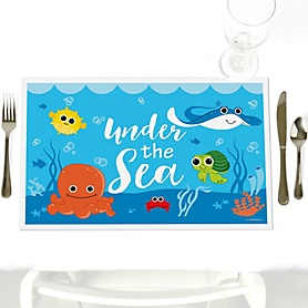 Under The Sea Critters - Party Table Decorations - Baby Shower or Birthday Party Placemats - Set of 12