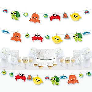 Under The Sea Critters - Baby Shower or Birthday Party DIY Decorations - Clothespin Garland Banner - 44 Pieces
