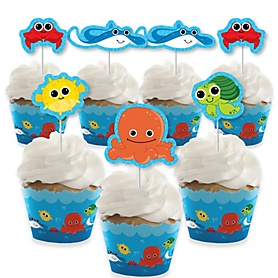 Under The Sea Critters - Cupcake Decoration - Baby Shower or Birthday Party Cupcake Wrappers and Treat Picks Kit - Set of 24