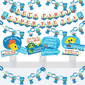 Under The Sea Critters - Banner and Photo Booth Decorations - Baby Shower or Birthday Party Supplies Kit - Doterrific Bundle