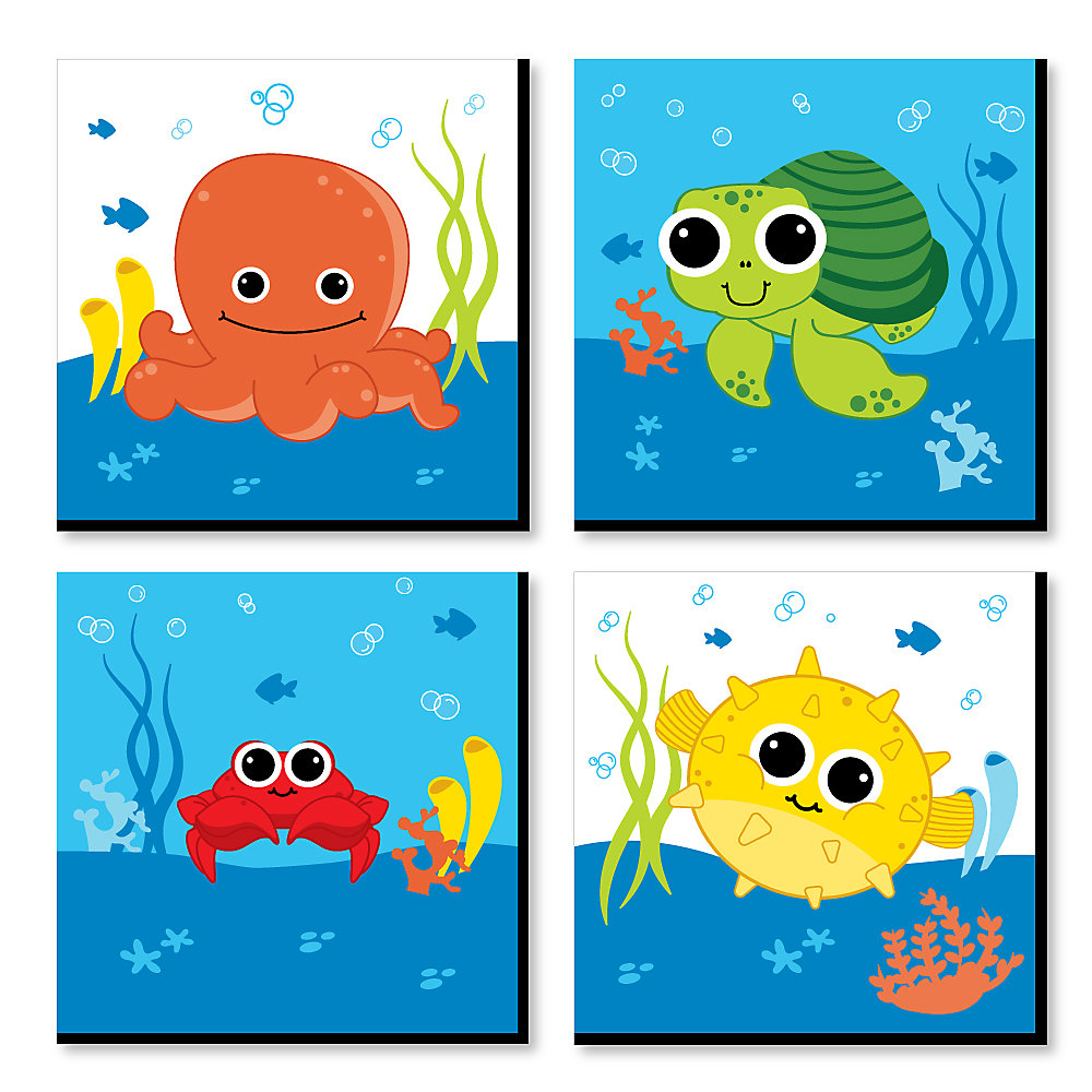 Under The Sea Critters Kids Room Nursery Decor And Home 11 X Inches Wall Art Set Of 4 Prints For Baby S