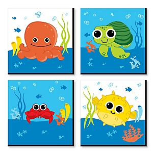 Under The Sea Critters - Kids Room, Nursery Décor and Home Décor - 11 x 11 inches Nursery Wall Art - Set of 4 Prints for Baby's Room