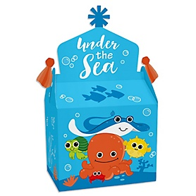 Under The Sea Critters - Treat Box Party Favors - Baby Shower or Birthday Party Goodie Gable Boxes - Set of 12