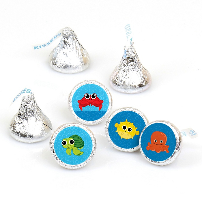 Under The Sea Critters - Round Candy Labels Party Favors - Fits Hershey's Kisses - 108 ct