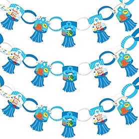 Under The Sea Critters - 90 Chain Links and 30 Paper Tassels Decoration Kit - Baby Shower or Birthday Party Paper Chains Garland - 21 feet