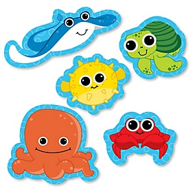 Under The Sea Critters - DIY Shaped Party Paper Cut-Outs - 24 ct