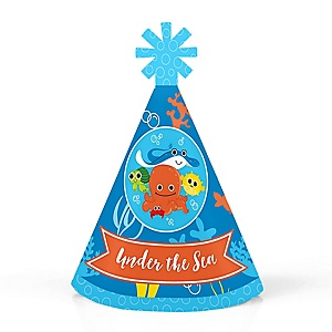 Under The Sea Critters - Personalized Mini Cone Birthday Party or Baby Shower Hats - Small Little Party Hats - Set of 10