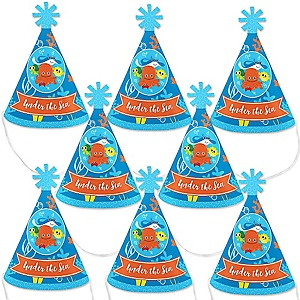 Under The Sea Critters - Mini Cone Birthday Party or Baby Shower Hats - Small Little Party Hats - Set of 8