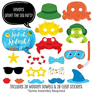 Under The Sea Critters - 20 Piece Photo Booth Props Kit