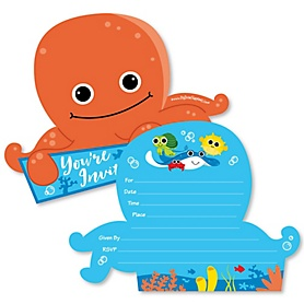 Under The Sea Critters - Shaped Fill-In Invitations - Birthday Party or Baby Shower Invitation Cards with Envelopes - Set of 12