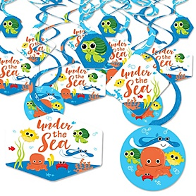 Under The Sea Critters - Baby Shower or Birthday Party Hanging Decor - Party Decoration Swirls - Set of 40