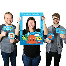 Under The Sea Critters - Personalized Birthday Party or Baby Shower Selfie Photo Booth Picture Frame & Props - Printed on Sturdy Material