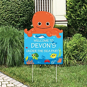 Under The Sea Critters - Party Decorations - Birthday Party or Baby Shower Personalized Welcome Yard Sign