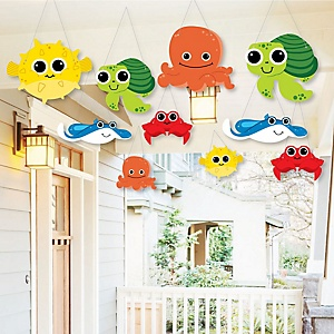Hanging Under The Sea Critters - Outdoor Birthday Party or Baby Shower Hanging Porch & Tree Yard Decorations - 10 Pieces