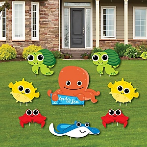 Under The Sea Critters - Yard Sign & Outdoor Lawn Decorations - Birthday Party or Baby Shower Yard Signs - Set of 8
