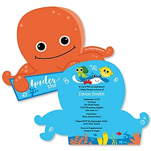 Under The Sea Critters - Shaped Baby Shower Invitations - Set of 12