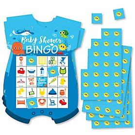 Under The Sea Critters - Picture Bingo Cards and Markers - Baby Shower Shaped Bingo Game - Set of 18