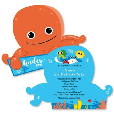 Under The Sea Critters Shaped Birthday Party Invitations