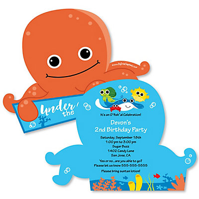 under the sea critters shaped birthday party invitations set of