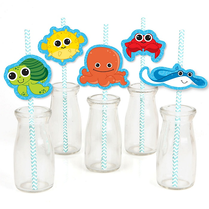 Under The Sea Critters - Paper Straw Decor - Baby Shower or Birthday Party Striped Decorative Straws - Set of 24