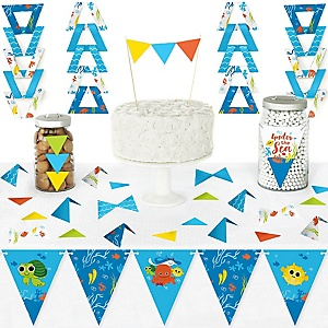 Under The Sea Critters - DIY  Pennant Banner Decorations - Baby Shower or Birthday Party Triangle Kit - 99 Pieces