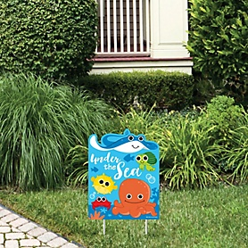 Under The Sea Critters - Outdoor Lawn Sign - Baby Shower or Birthday Party Yard Sign - 1 Piece