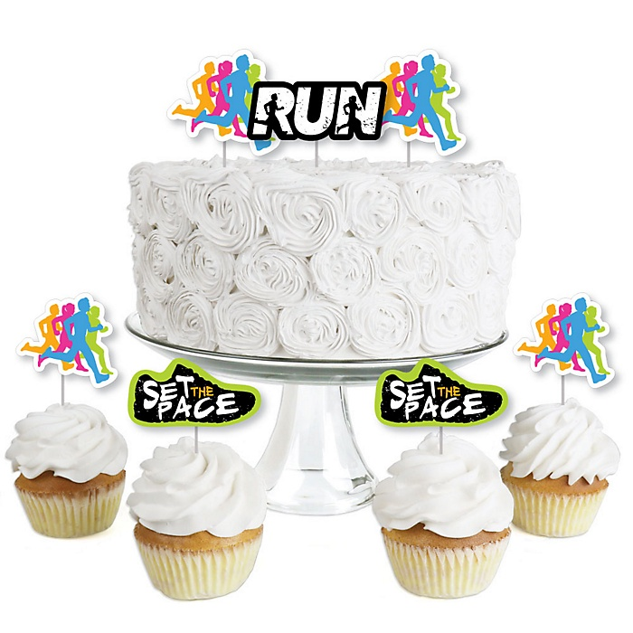 Set The Pace - Running - Dessert Cupcake Toppers - Track, Cross Country or Marathon Party Birthday Party Clear Treat Picks - Set of 24