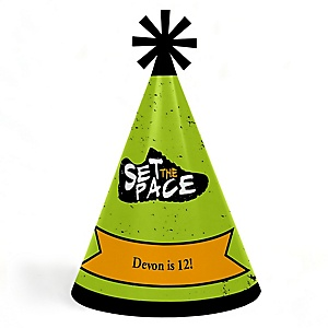 Set The Pace - Running - Personalized Cone Happy Birthday Party Hats for Kids and Adults - Set of 8 (Standard Size)