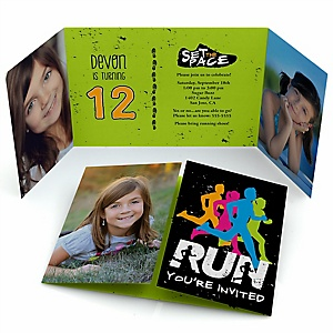 Set The Pace - Running - Personalized Birthday Party Photo Invitations - Set of 12
