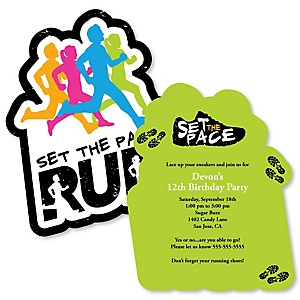 Set The Pace - Running - Shaped  Birthday Party Invitations - Set of 12