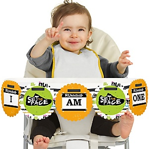 Set The Pace - Running 1st Birthday - I am One - First Birthday High Chair Birthday Banner