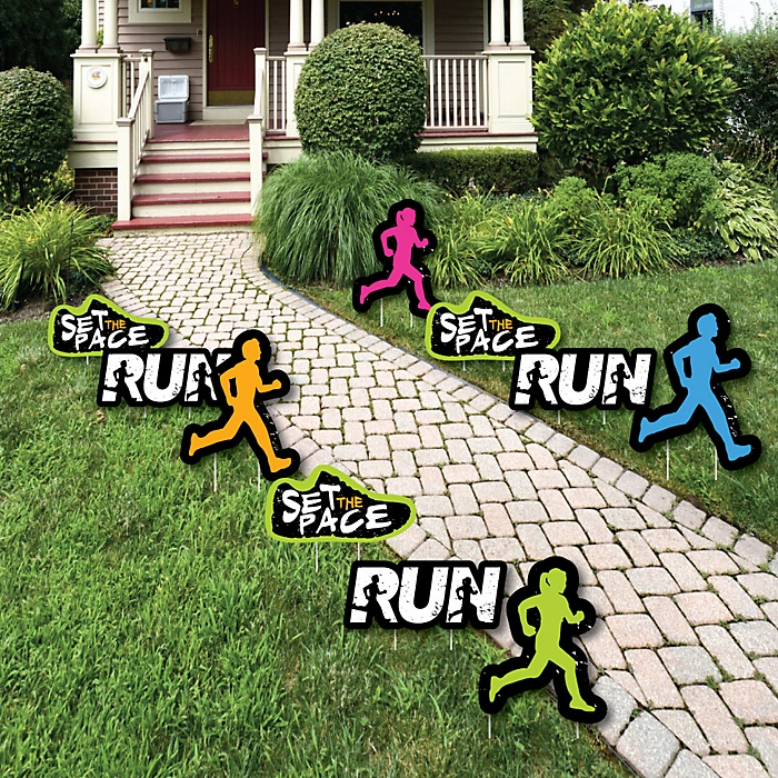 Set The Pace - Running - Lawn Decorations - Outdoor Track, Cross Country or Marathon Yard Decorations - 10 Piece