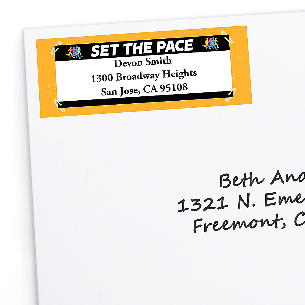 Set the pace running personalized track cross country or marathon return address labels 30 ct