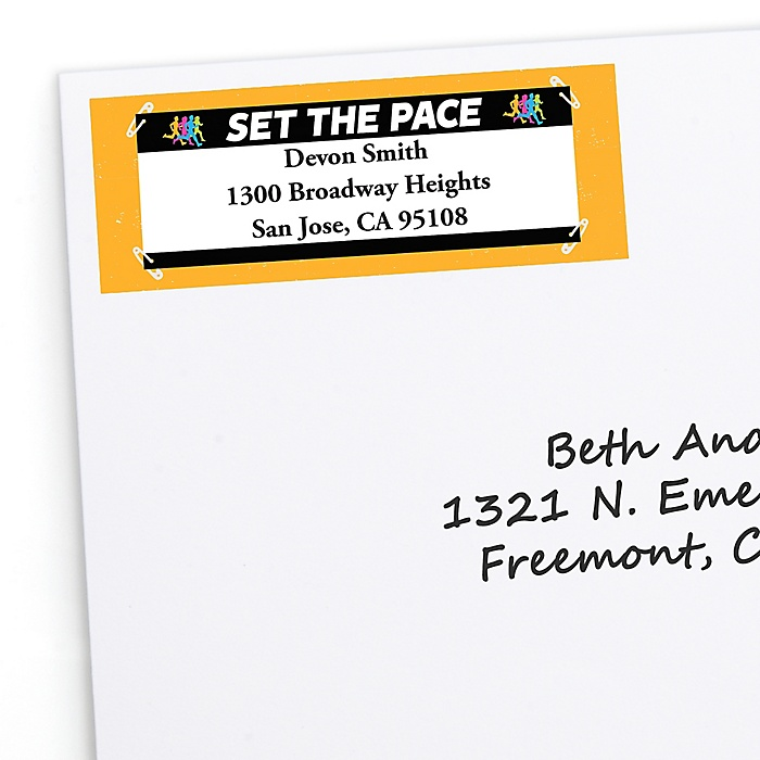 Set The Pace - Running - Personalized Track, Cross Country or Marathon Return Address Labels - 30 ct