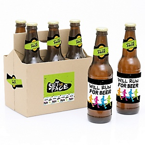 Set The Pace - Running - Decorations for Women and Men - 6 Track, Cross Country or Marathon Party Soda/Beer Bottle Label Stickers and 1 Carrier