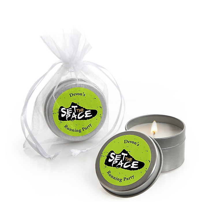 Set The Pace - Running - Personalized Track, Cross Country or Marathon Candle Tin Favors - Set of 12