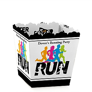 Set The Pace - Running - Party Mini Favor Boxes - Personalized Track, Cross Country or Marathon Treat Candy Boxes - Set of 12