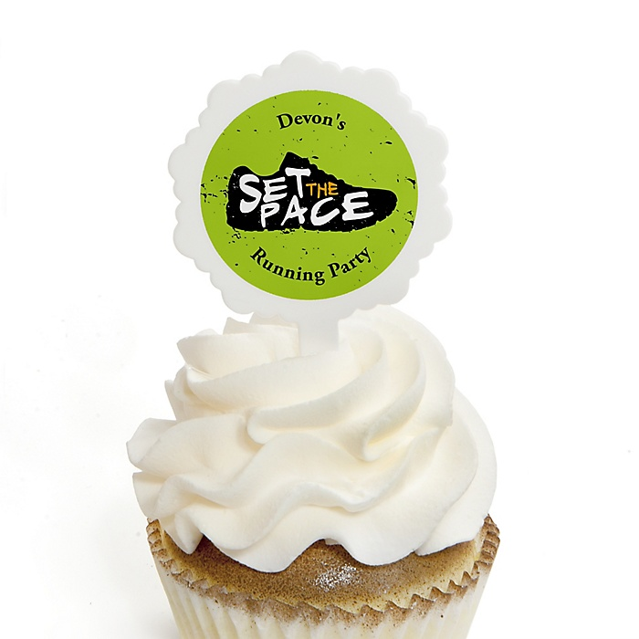 Set The Pace - Running - Cupcake Picks with Personalized Stickers - Track, Cross Country or Marathon Cupcake Toppers - 12 ct