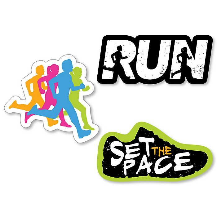 Set The Pace - Running - DIY Shaped Track, Cross Country or Marathon Cut-Outs - 24 ct